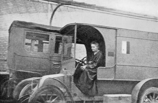 Madame Curie driving an Xray equipped vehicle in World War I