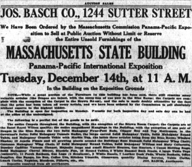 Advertisement for the sale of the Massachusetts Building, December 12, 1915.